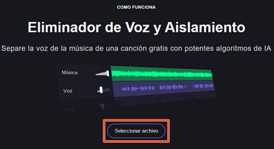 Cómo quitar la voz de una canción desde Vocal Remover org paso 1