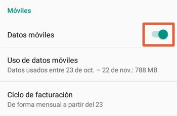 Activar los datos móviles en Android paso 2