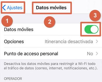 Activar los datos móviles en iOS (iPhone) paso 1, 2 y 3