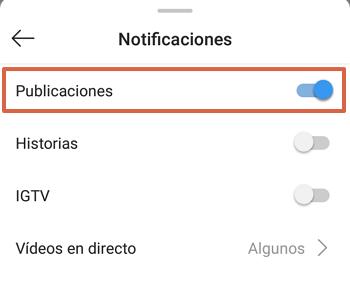 Cómo activar notificaciones de publicaciones en Instagram paso 5