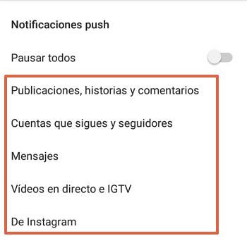 Cómo activar notificaciones push en Instagram paso 5