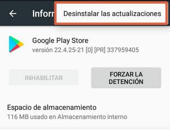 Play Store no funciona solución desinstalar actualizaciones