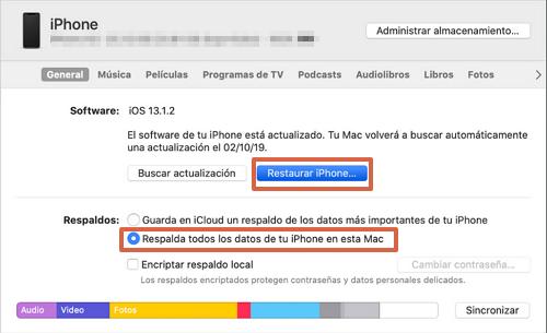 Cómo formatear o resetear un iPhone con iTunes paso 5