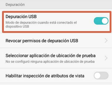 Cómo activar depuración USB en el móvil