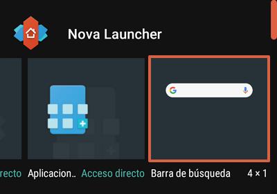 Cómo agregar la barra de Google en Android como un widget desde Nova Launcher paso 2