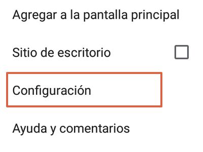 Cómo bloquear páginas web en Google Chrome para Android desde las configuraciones paso 2