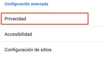Cómo bloquear páginas web en Google Chrome para Android desde las configuraciones paso 3