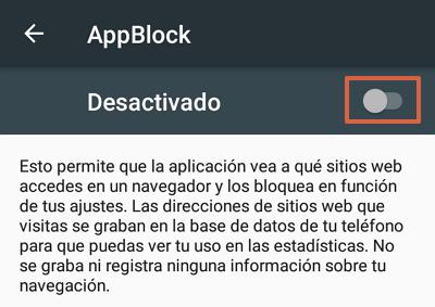 Cómo bloquear páginas web en Google Chrome para Android utilizando AppBlock paso 13
