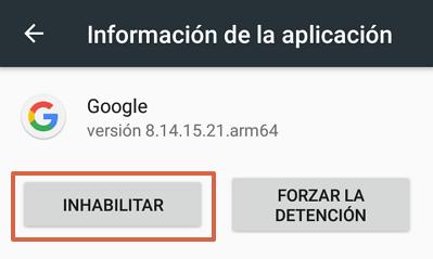 Cómo quitar la barra de Google en Android inhabilitando Google app paso 4