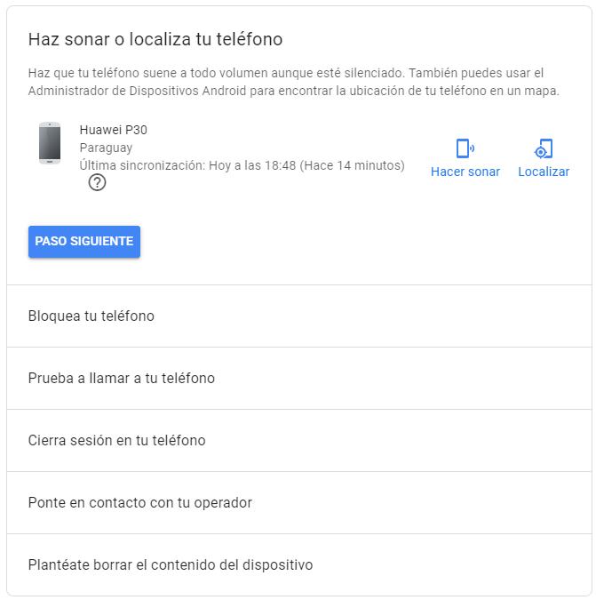 Encontrar móvil, de Google.
