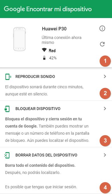 Google Encontrar mi dispositivo - Funciones