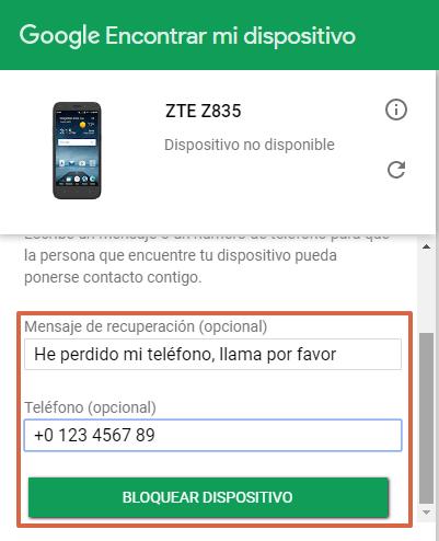 Bloquear celular robado Android paso 5.