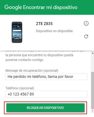 Bloquear celular robado Android paso 6.