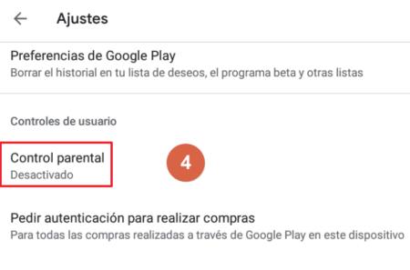 Cómo activar el control parental en Google Play paso 4