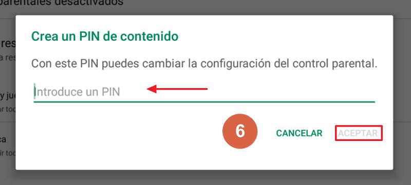 Cómo activar el control parental en Google Play paso 6