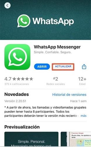 Cómo actualizar WhatsApp a su última versión en iOS