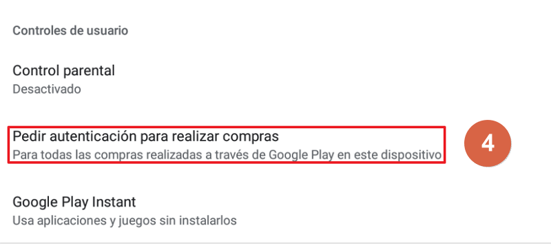 Cómo desactivar las compras de Google Play Paso 4