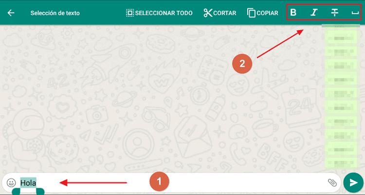 Cómo poder acceder a las opciones de formato en WhatsApp paso 1, 2