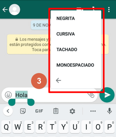 Cómo poder acceder a las opciones de formato en otras versiones WhatsApp paso 3