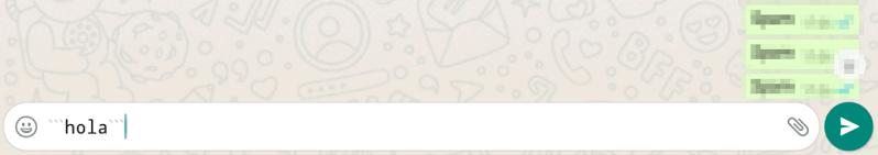 Cómo poner monoespaciado en WhatsApp