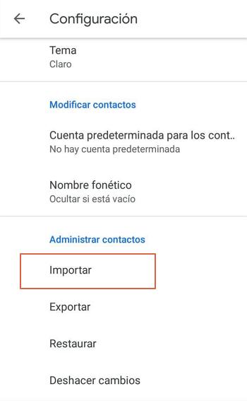 Como pasar contactos de un telefono a otro usando Google paso 4