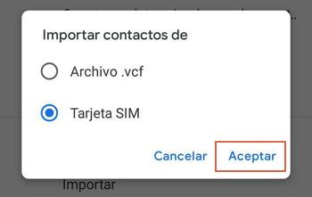 Como pasar contactos de un telefono a otro usando Google paso 5