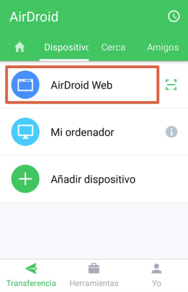 Compartir pantalla con AirDroid paso 1