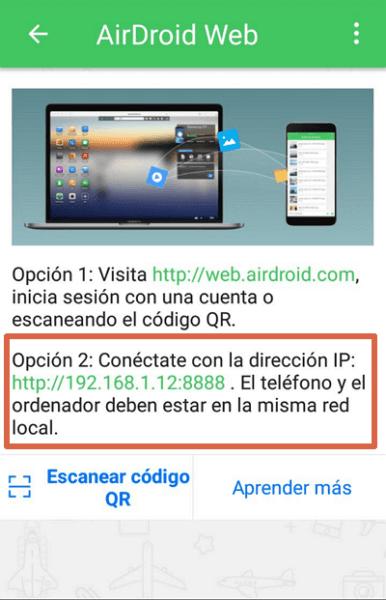 Compartir pantalla con AirDroid paso 2