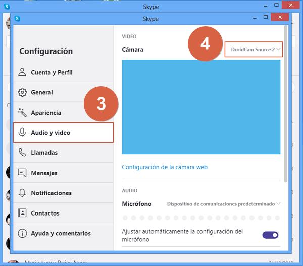 Configurar telefono como camara en Skype con Iriun Webcam paso 3.