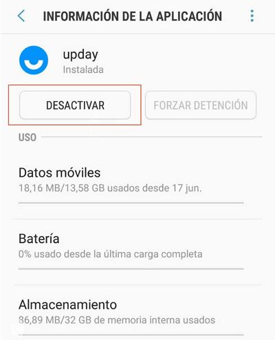 Desactivar UpDay desde ajustes paso 4