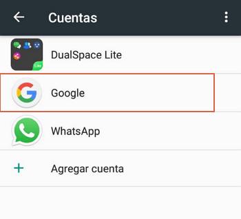 Eliminar cuenta de Google desde el Smartphone paso 3