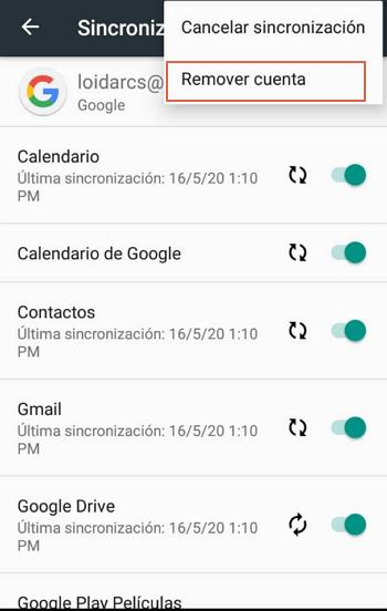 Eliminar cuenta de Google desde el Smartphone paso 5