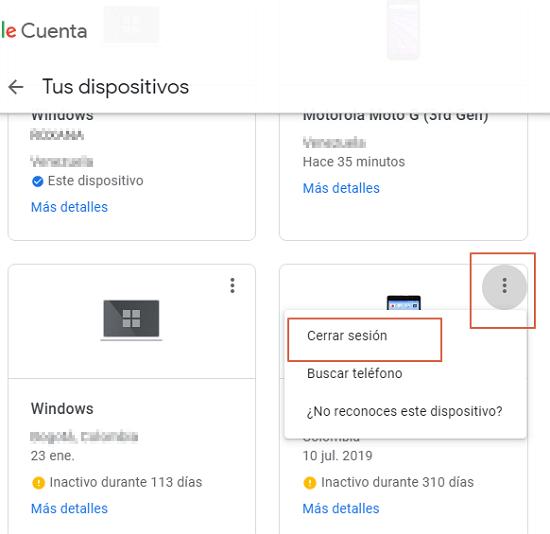 Eliminar cuenta de Google desde la web paso 5