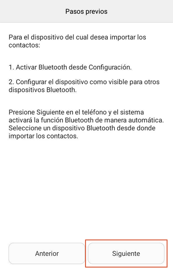 Importar contactos desde otro dispositivo usando Bluetooth paso 5