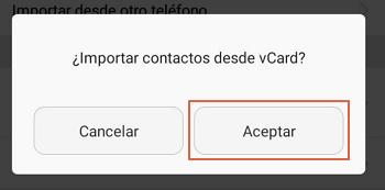 Importar contactos desde otro dispositivo usando Bluetooth paso 8