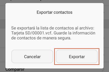 Pasar contactos de un telefono a otro usando archivo Vcard paso 5
