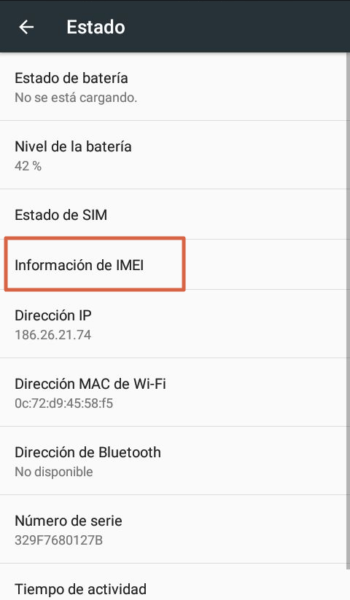 Saber tu número de IMEI utilizando el móvil 4