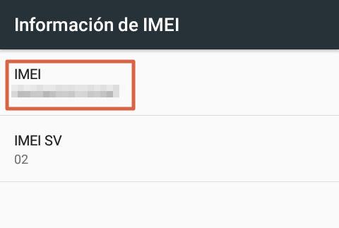 Saber tu número de IMEI utilizando el móvil 5