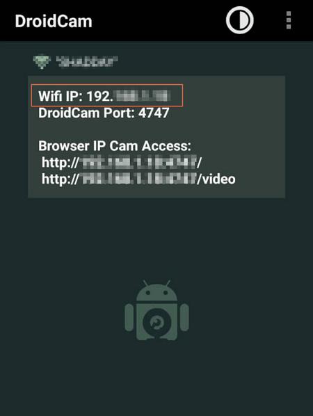 Usar telefono como camara en el computador con DroidCam paso 2