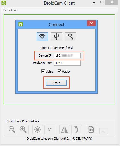 Usar telefono como camara en el computador con DroidCam paso 3