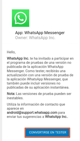 WhatsApp Beta Paso 3