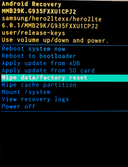 Wipe data- factory reset