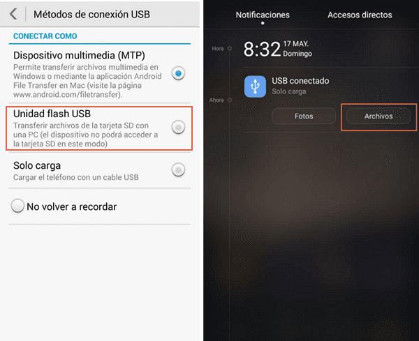 activar transferencia de archivos desde el telefono diferentes versiones