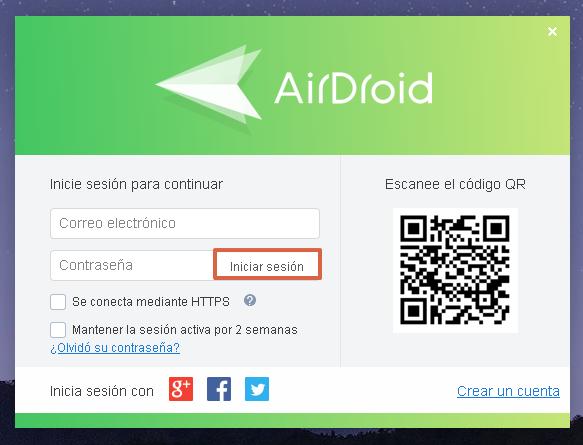 enviar sms con airdroid paso 1