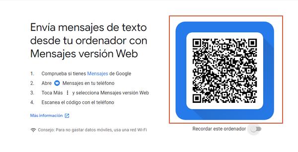 enviar sms con google mensajes paso 2