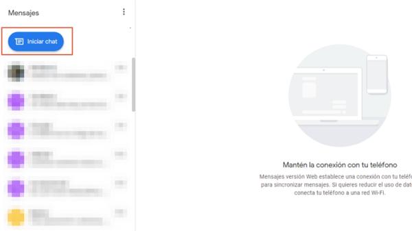 enviar sms con google mensajes paso 3