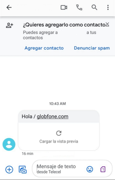 enviar sms desde globfone - recibido