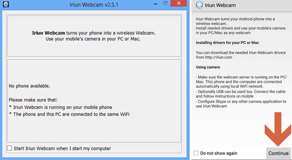 usar Iriun Webcam paso 1