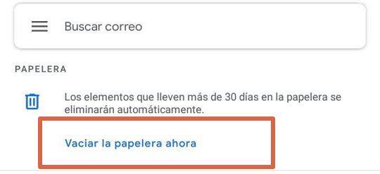 Acceder a papelera de reciclaje de Gmail paso 3