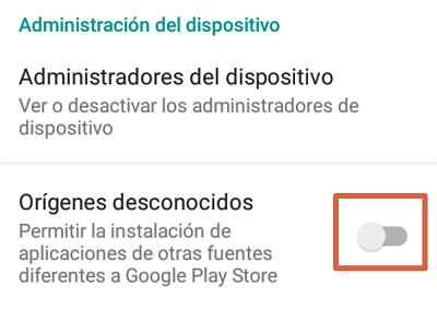 Activar configuración de origen desconocido en Android paso 3